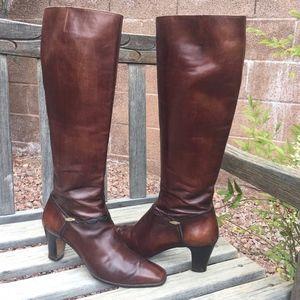 Salvatore Ferragamo Boots Carla Brown Leather 7.5N